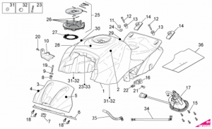 OEM Frame Parts Diagrams - Fuel Tank