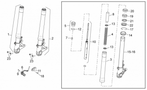 OEM Frame Parts Diagrams - Front Fork