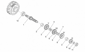 OEM Engine Parts Schematics - Primary Gear Shaft