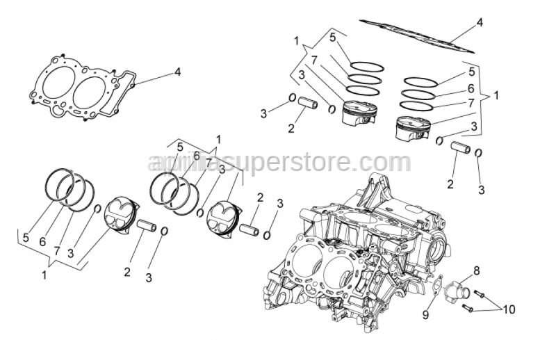 Aprilia - Piston pin 17x10x45