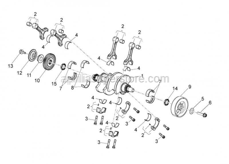 Aprilia - Crankshaft cpl. is SUPERSEDED by B045412CC