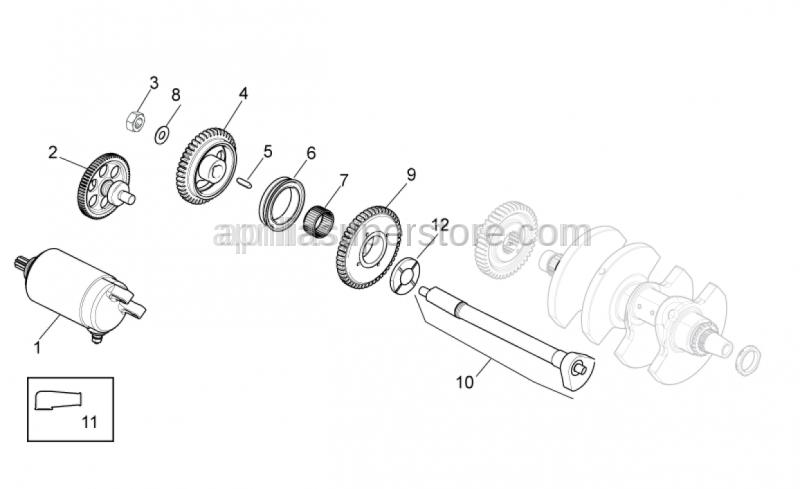 Aprilia - Electric starter gear Z=12/64 is SUPERSEDED by 85254R