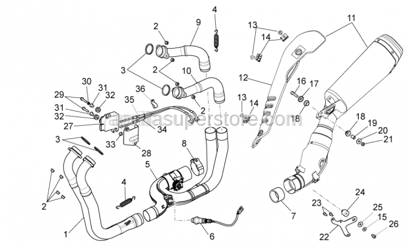 Aprilia - Central exhaust manifold is SUPERSEDED by 85224R
