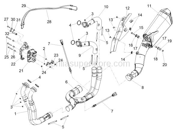 RH rear exhaust pipe
