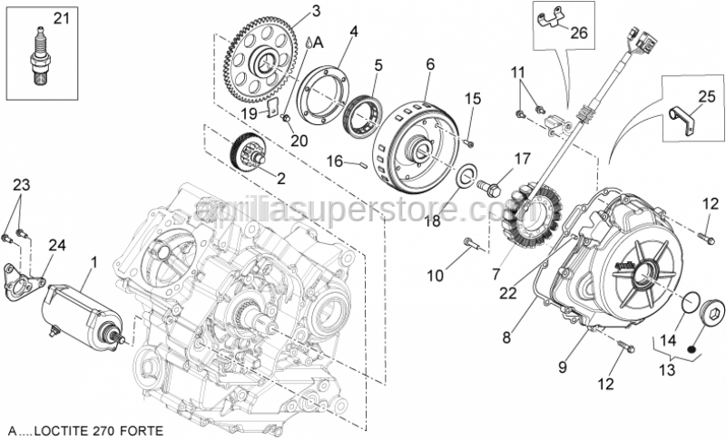 Aprilia - GASKET COVER AND HALF-CRANKCASE FLYWHEEL