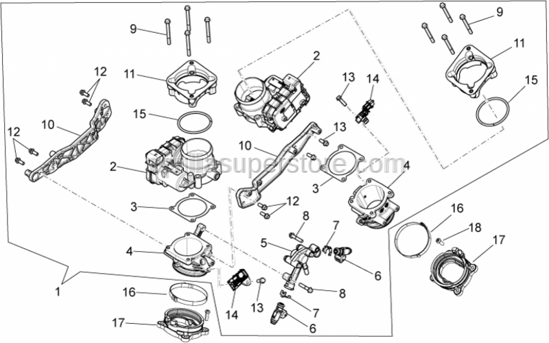Aprilia - INJECTOR SUPPORT ASSEMBLY