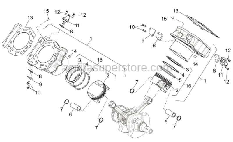 Aprilia - CYLINDER-PISTON-GUDGEON PIN-CICLIPS GROU