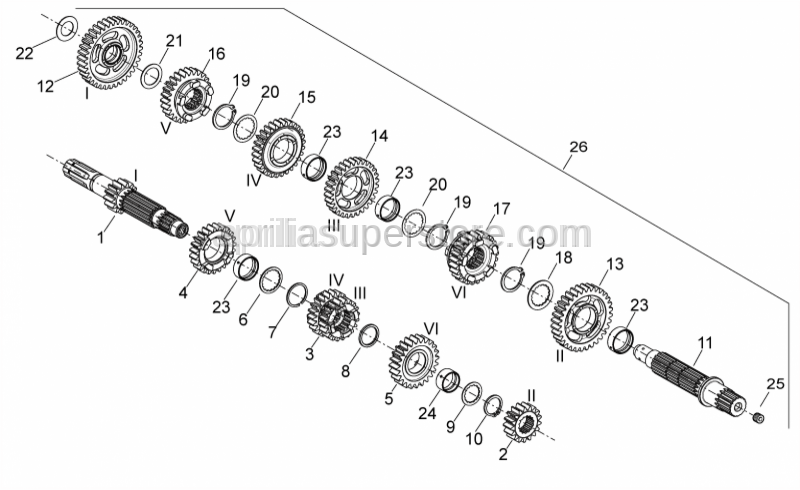 Aprilia - 3RD SPEED GEAR (DRIVEN SHAFT)
