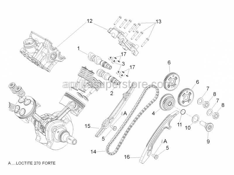 Aprilia - Rear timing system gear cpl.