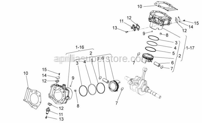 Aprilia - CYLINDER-PISTON-PIN-RING 4