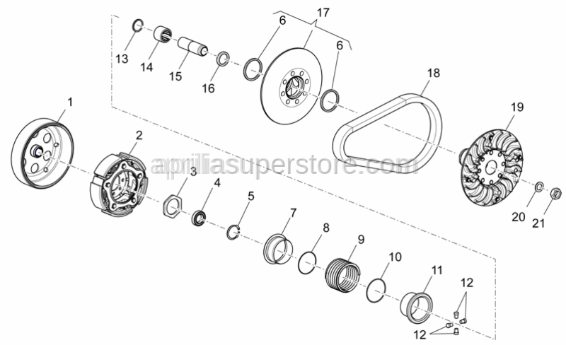 Aprilia - Nut for securing front pulley assy.