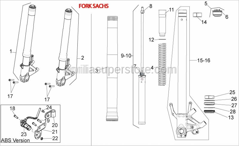 Aprilia - Screw w/ flange M8x60*