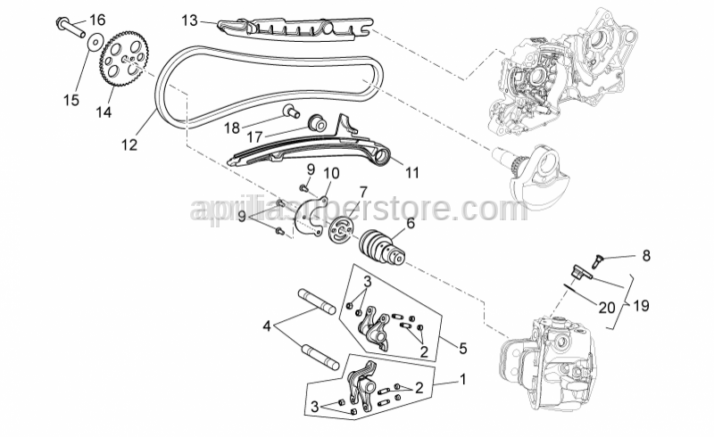 Aprilia - upper rocker arm assy.