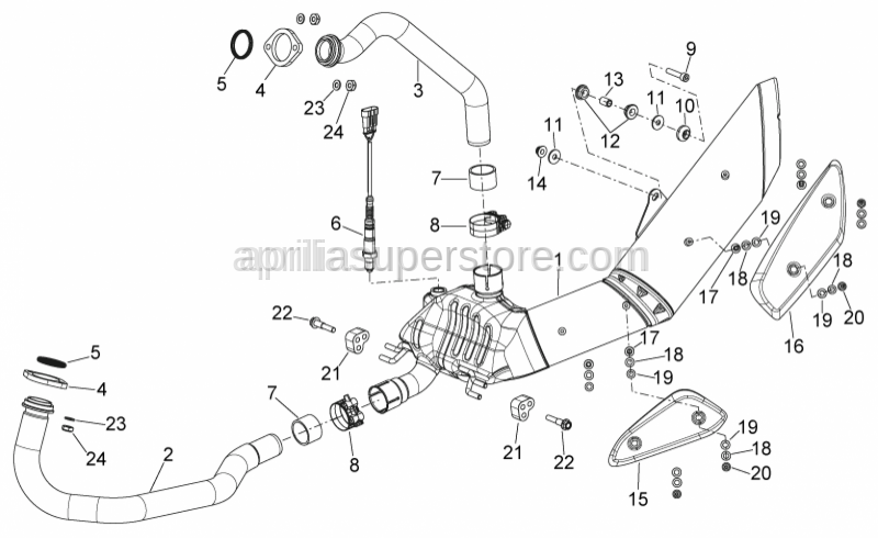 Aprilia - Front. Exhaust pipe