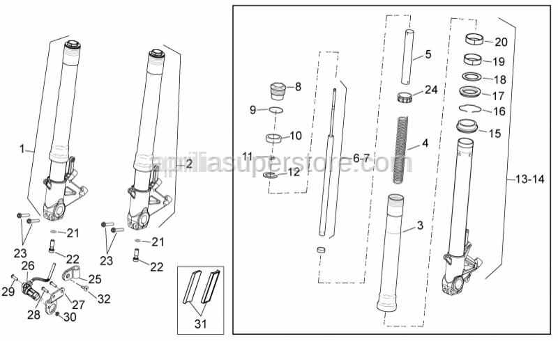 Aprilia - LH plunger, complete