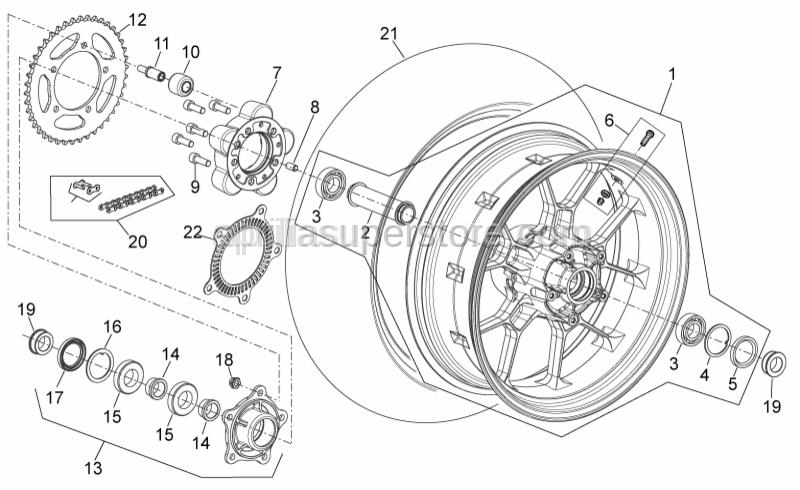 Aprilia - Rear wheel 6x17