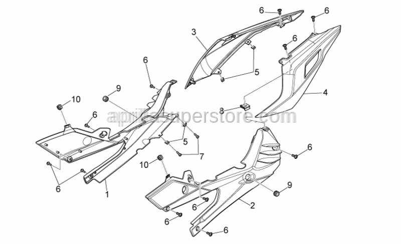 Aprilia - LH rear fairing