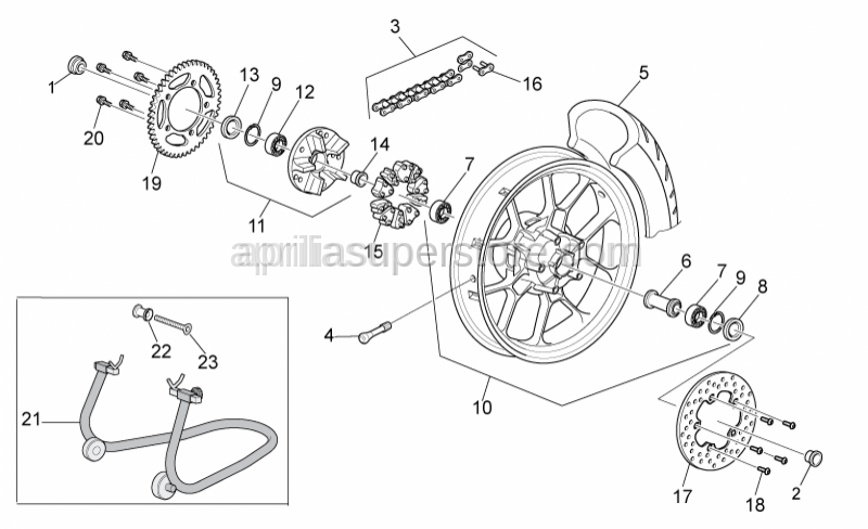 Aprilia - LH wheel ou.spacer