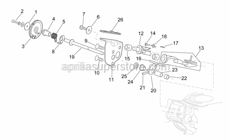 Aprilia - Exhaust valve cable plate