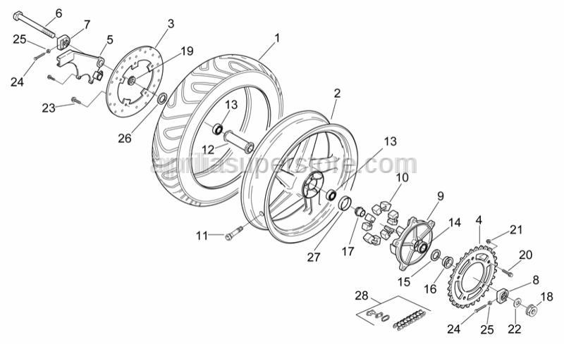 Aprilia - Rear wheel spindle nut