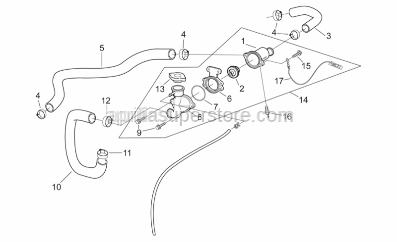 Aprilia - Thermostat-cooler pipe