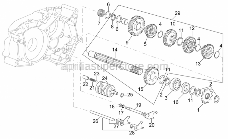 Aprilia - Gear selector fork+pin 5-6 v.ta'