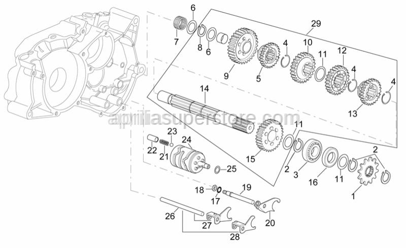 Aprilia - Gear selector fork+pin 1-3 v.ta'