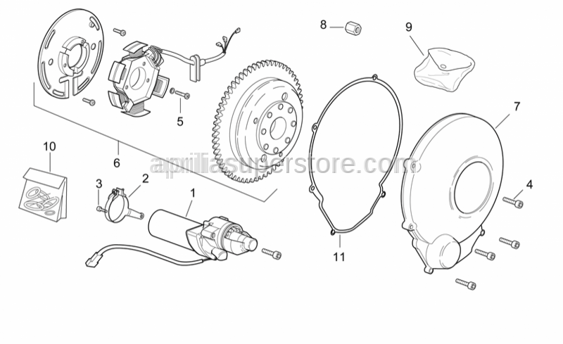 Aprilia - Flywheel housing cover gasket