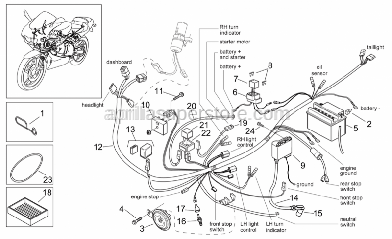 Aprilia - Starter motor wiring harness