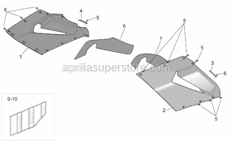 Aprilia - RH lat.fairing plate