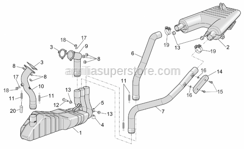 Aprilia - LH rear exhaust pipe