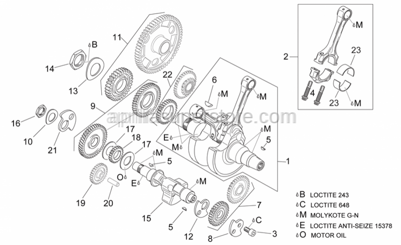 Aprilia - Balance shaft gear cpl.
