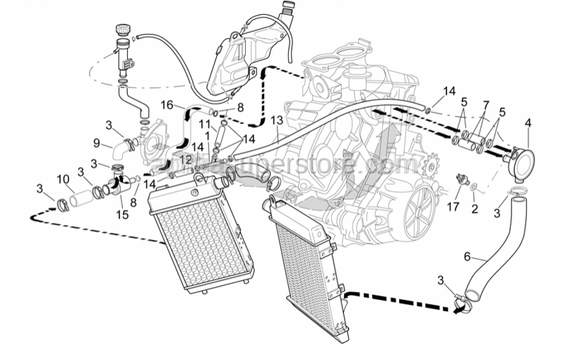 Aprilia - Water hose manifold/cooler