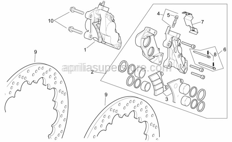 Aprilia - RH front brake caliper, red
