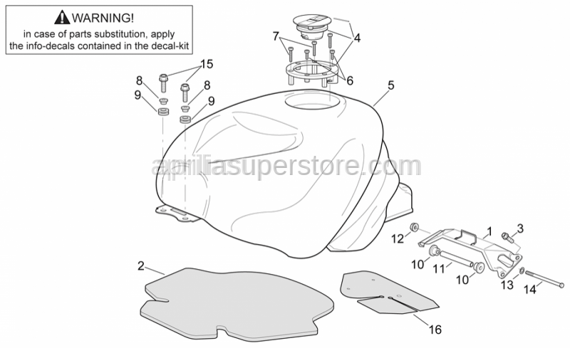 Aprilia - Tank rubber