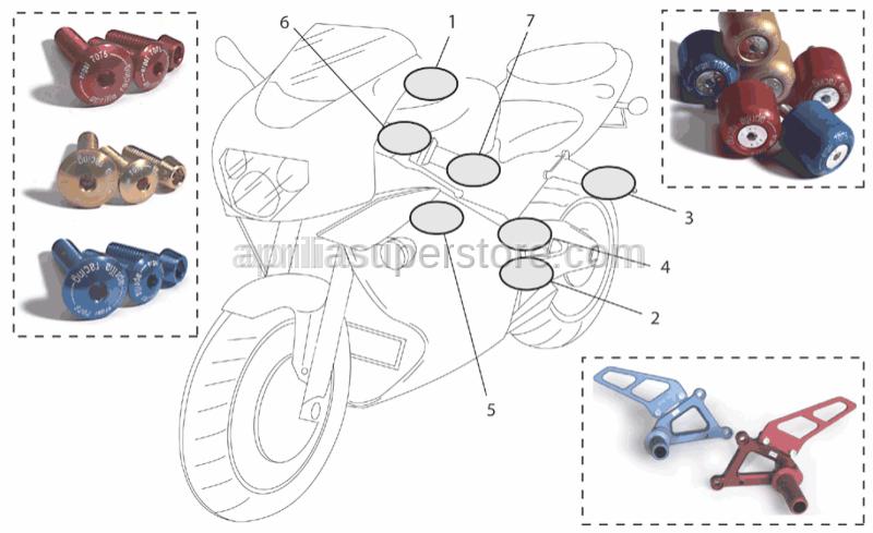 Aprilia - Fuel cap screws, red Ergal