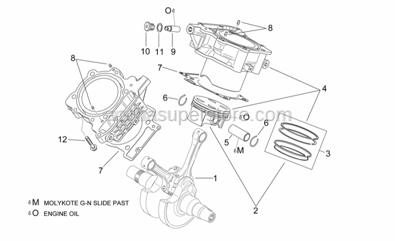 Aprilia - Piston assy 96,944 mm (A)