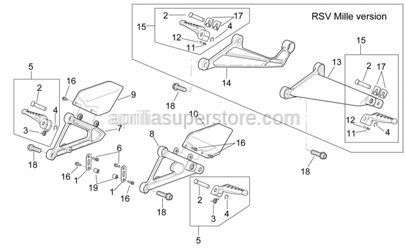 Aprilia - Rear footrests, pair