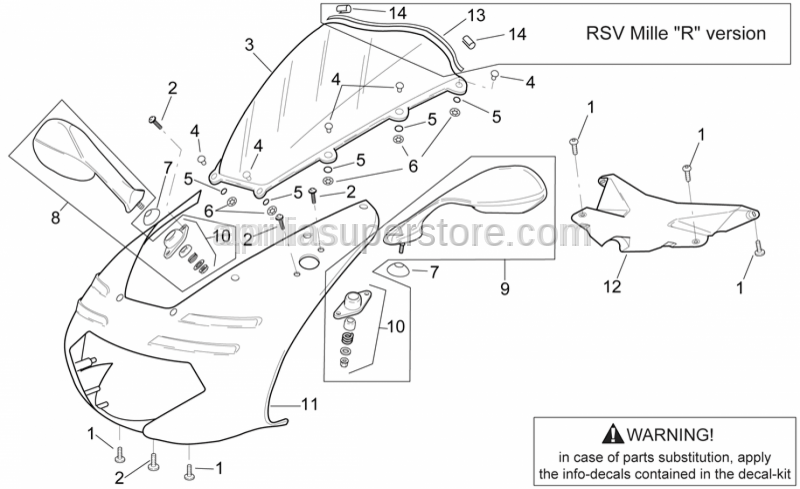 Aprilia - Front fairing-dashboard lockup