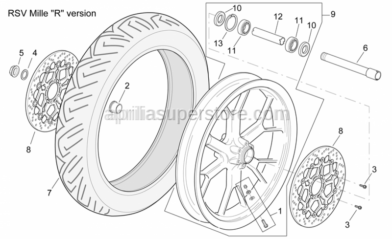 Aprilia - Front RH wheel, outerspacer