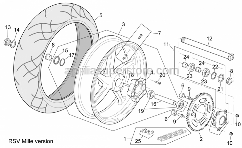Aprilia - Rear wheel spindle