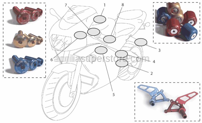 Aprilia - Rear footrests, pair Ergal-Oro