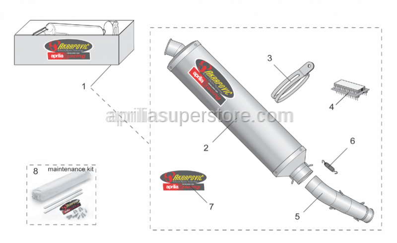 Aprilia - Exhaust pipe Inox