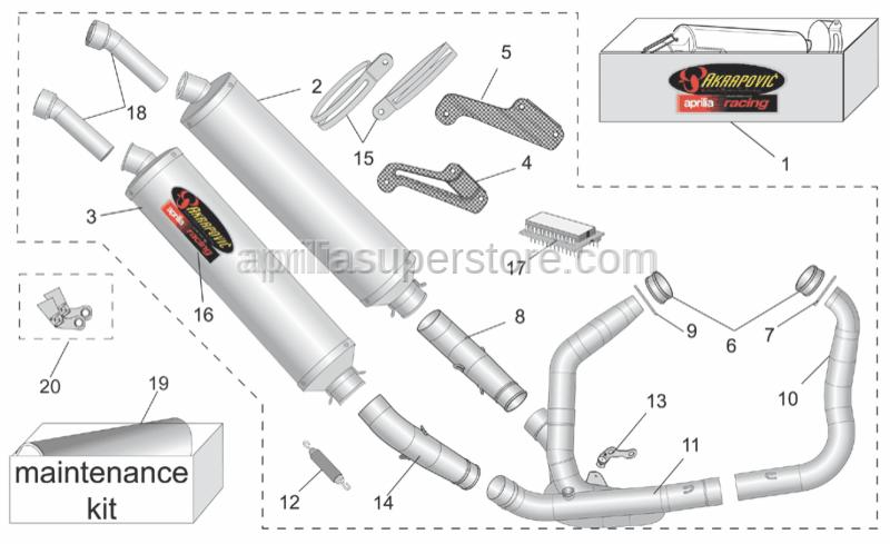 Aprilia - Front. Exhaust pipe Inox