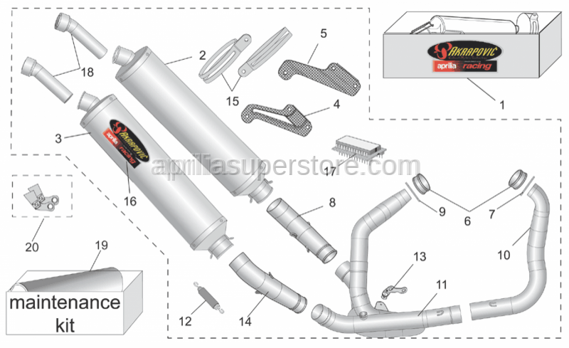 Aprilia - RH exhaust pipe Inox
