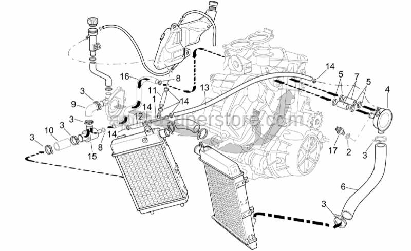 Aprilia - Thermostat-engine pipe