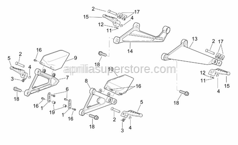 Aprilia - Rear footrests, pairSUPERSEDED BYAP8146172