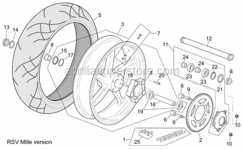 Aprilia - Rear wheel spacer