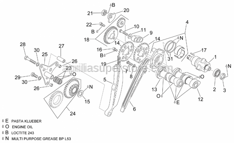 Aprilia - Upper balance shaft gear cpl.