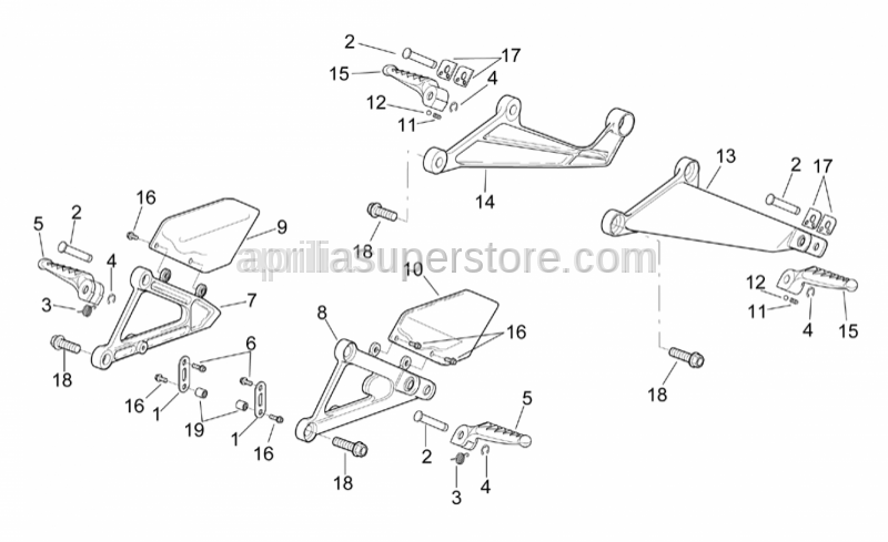 Aprilia - Rear footrests, pair SUPERSEDED BY AP8146172